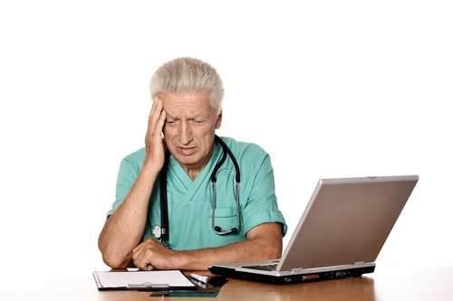 Elderly physicians in particular have difficulty adjusting to electronic health records.